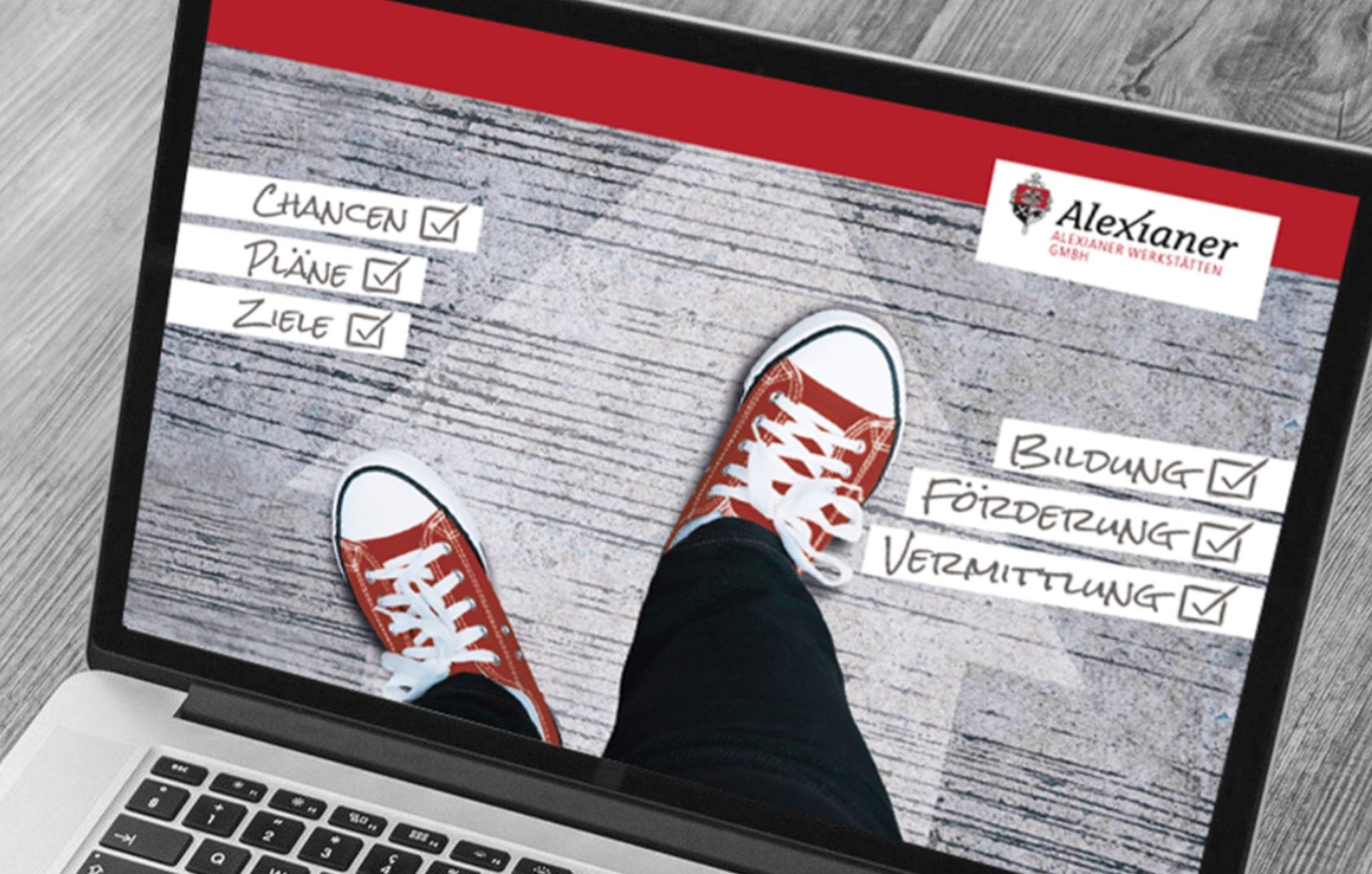 Computerbildschirm mit Bild von Füßen in roten Sportschuhen