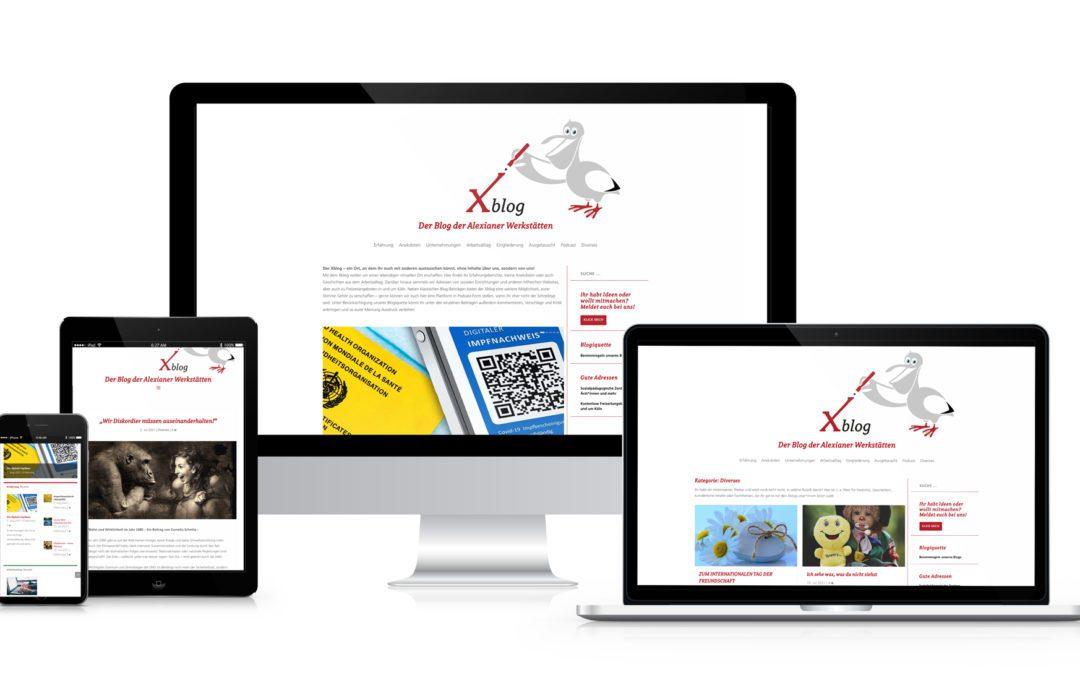 Logo des Xblog mit Bildschirmen und mobilen Endgeräten