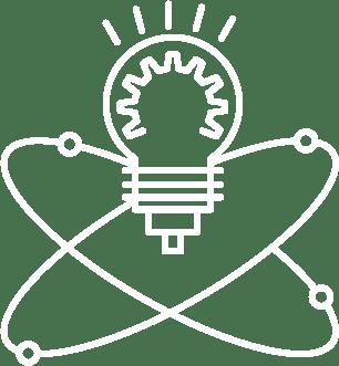 Symbol Glühbirne und Energieelypsen