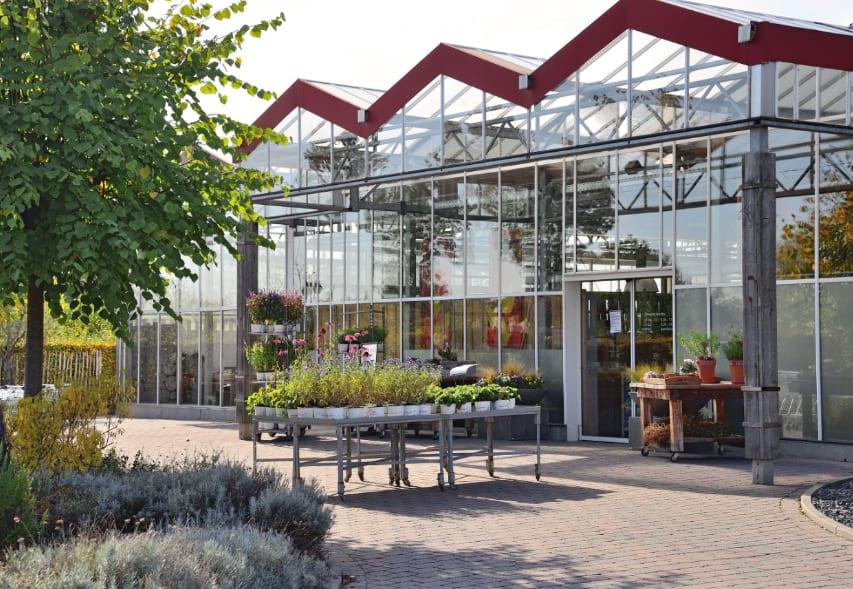 Der Eingangsbereich der Gärtnerei sinnesgrün.