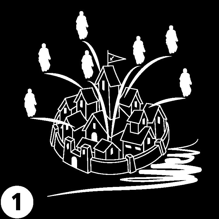 Grafik, welche die Grundsteinlegung der Begarden darstellt
